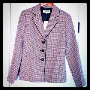 Evan Picone Red and Black Houndstooth Blazer
